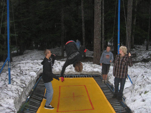 session 1 trampoline in the snow